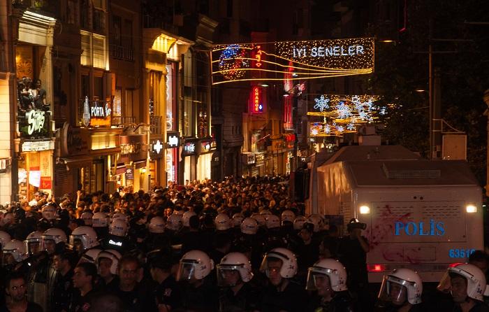 Taksim, Istiklal Street with police, Istanbul, Turkey