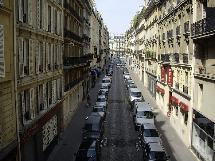 A street in the dense 9th arrondissement of Paris, France