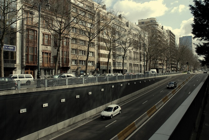 Traffic and an underground passageway in Brussels, Belgium