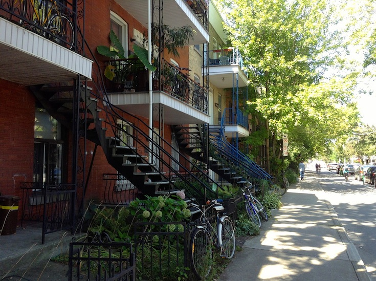 A residential street in the Plateau-Mont-Royal area in Montreal, Canada
