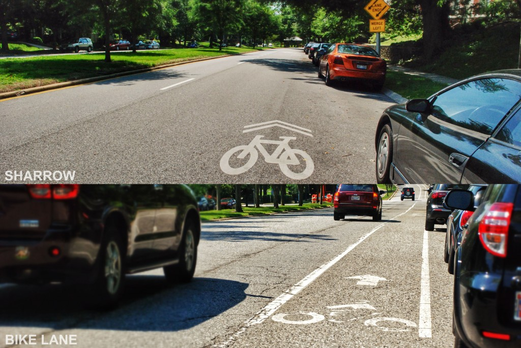 Bike Lanes vs Sharrows in Baltimore City, Maryland