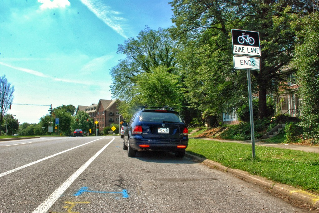 Bike Lane Ends, Roland Ave in Baltimore City, Maryland