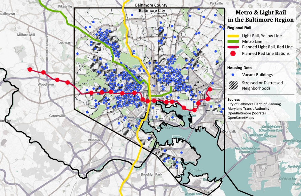 Rail Transit vs Vacancies in Baltimore City, Maryland
