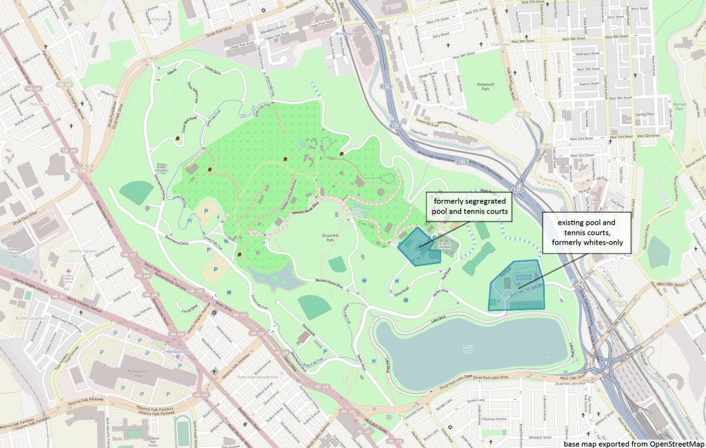 Map of Segregated Areas of Druid Hill Park, City of Baltimore, Maryland