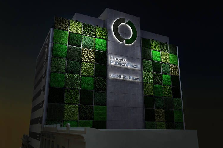 Render of the Green Wall project - NIGHT, Buenos Aires