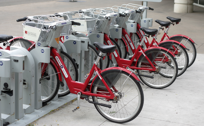 B-cycle® Denver station in downtown Denver