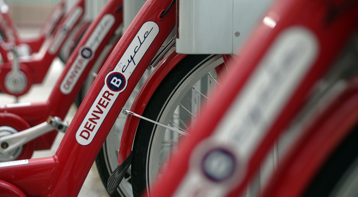 B-cycle® Denver bikes in downtown Denver