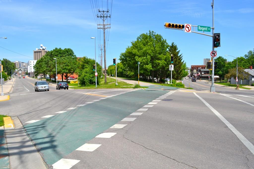 The diagonal crosswalk by Monroe Street, Madison, Wisconsin