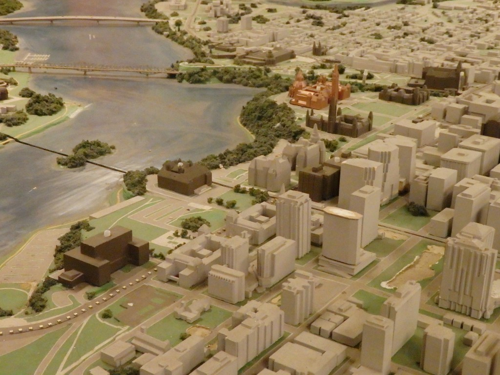 Model of Ottawa showing parliament buildings and nearby LeBreton Flats siteOttawa, Ontario