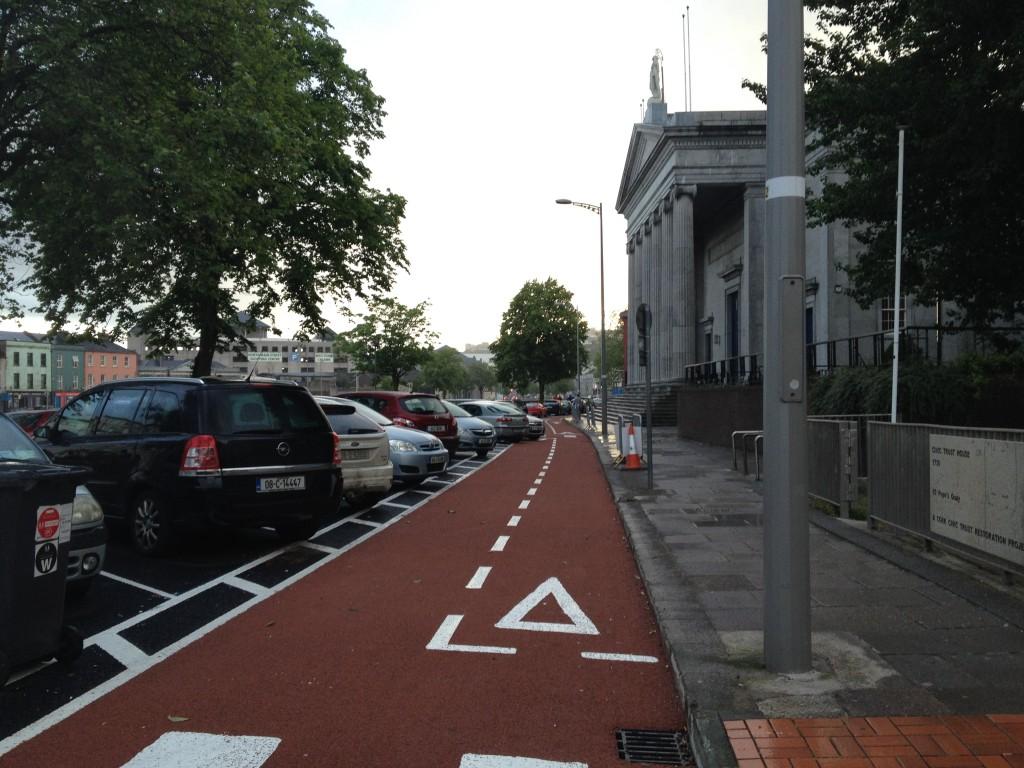 Contraflow bike lanes on Popes Quay, Cork City, Ireland