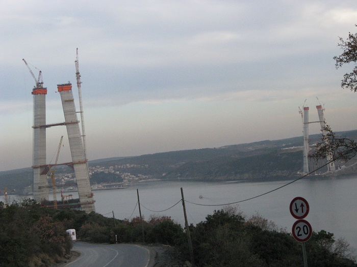 Bosphorus Bridge construction site, Istanbul, Turkey