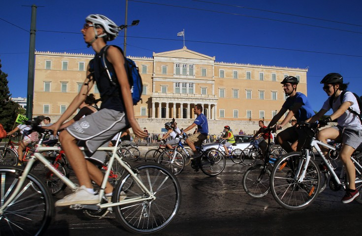 Bikers Protest in Athens, Greece