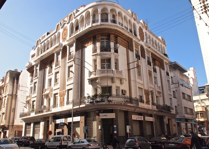 A typical colonial Art Deco building in Casablanca, Morocco