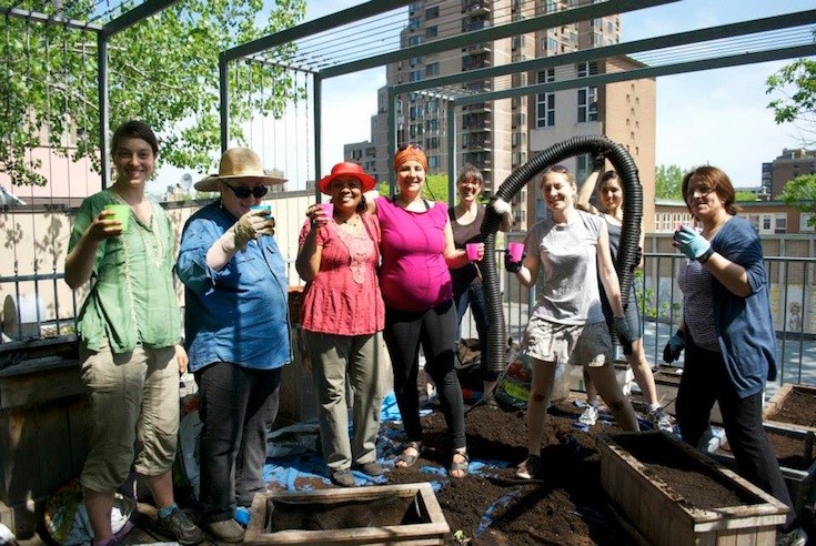 Citizens involved in gardening at the CEUM in Montreal, Canada. Credit: Centre d'écologie urbaine de Montréal.