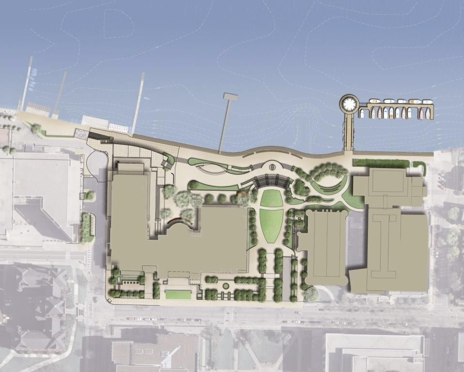 An Ariel sketch of the future Alumni Park, Madison, Wisconsin