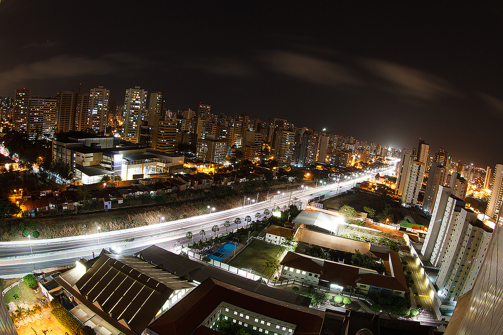 View of Fortaleza, Brazil at night.