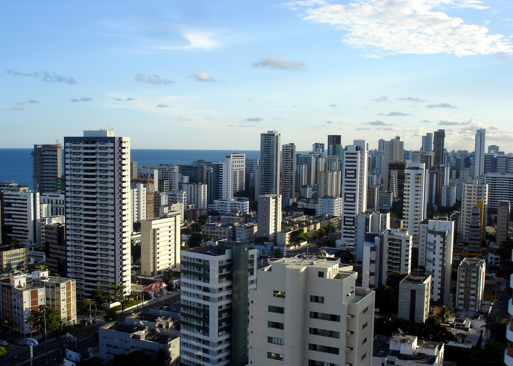 An overhead view of Recife, Brazil.