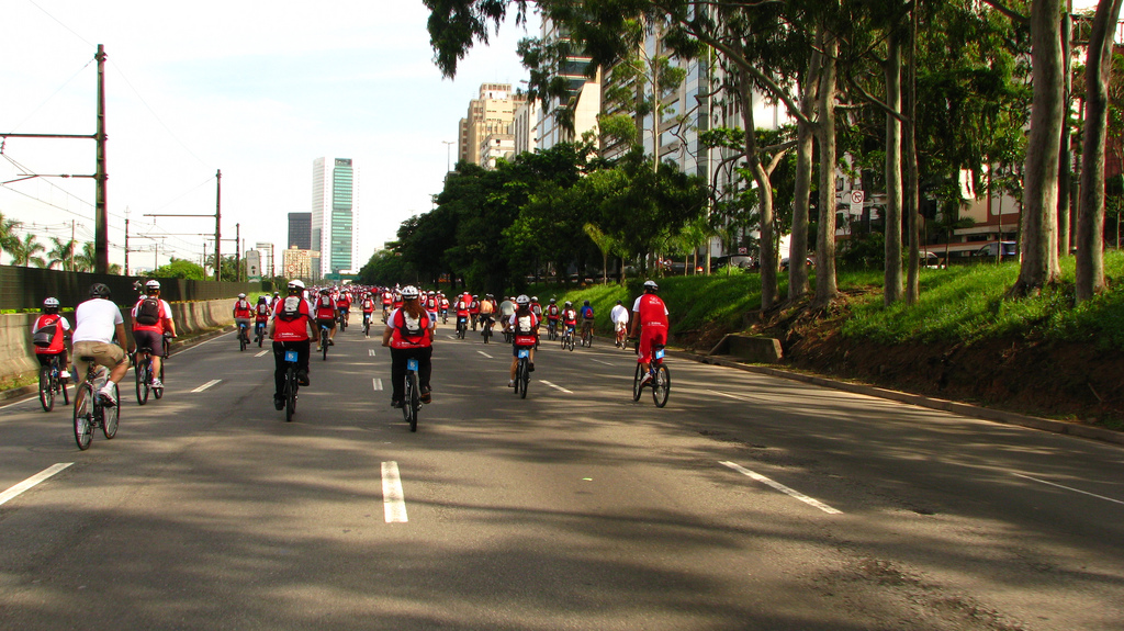 Bikers in the Pinheiros neighborhood of Sao Paulo, Brazil.