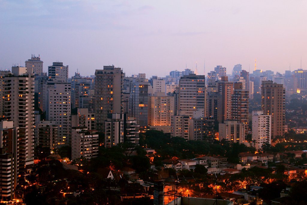 View of high rise buildings at sunset in Sao Paulo, Brazil.