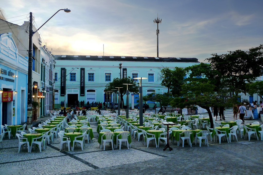 A typical public square in Fortaleza, Brazil.
