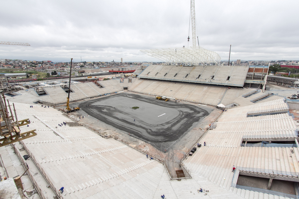 Another view of the construction of the Itaquerao stadium, São Paulo, Brazil