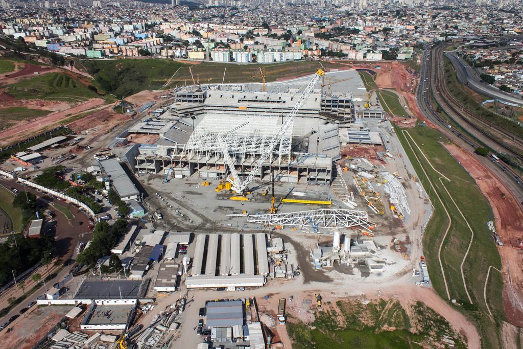 Construction of the Itaquerão Stadium, São Paulo, Brazil