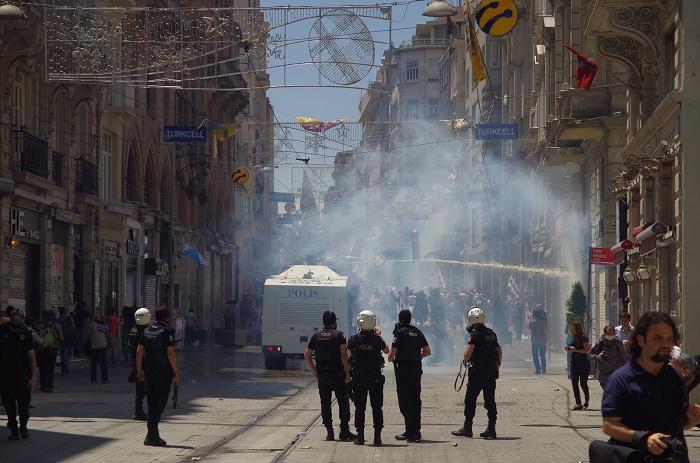 Istiklal Street Under Teargas, Taksim, Istanbul, Turkey