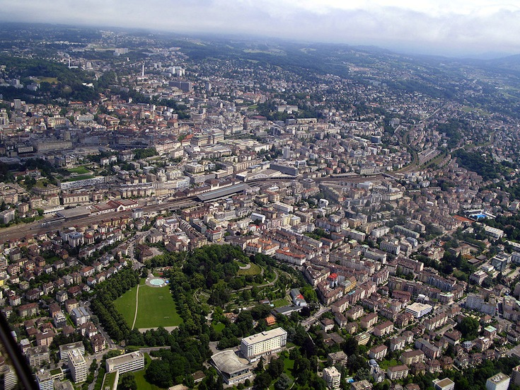 An aerial photo of Lausanne, Switzerland