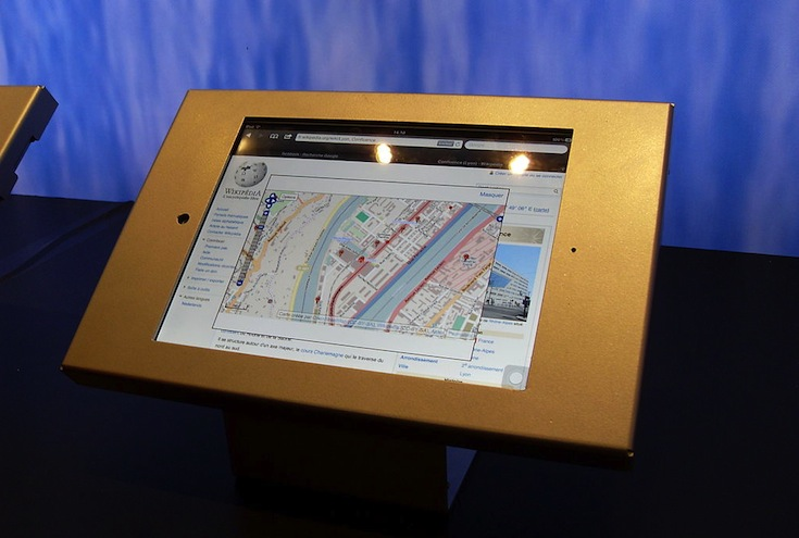 A touchscreen tablet at an exposition in Lyon, Rhône-Alpes, France