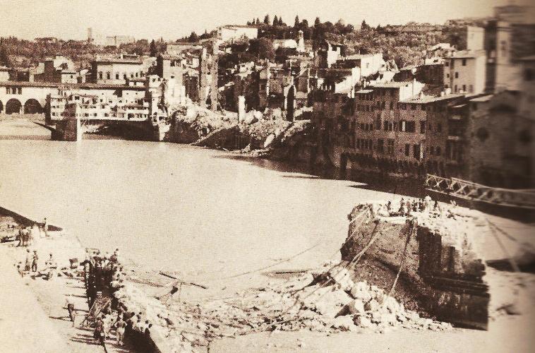 The wreckage around Ponte Vecchio, Florence, Italy