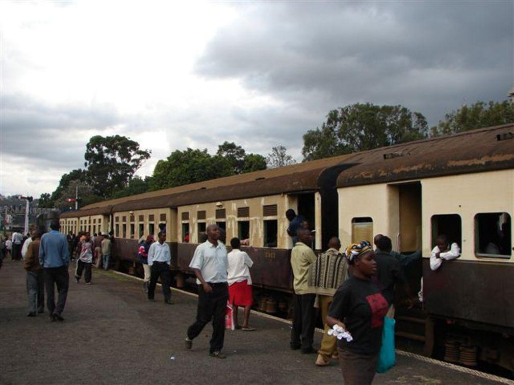 Passengers wait for a train, Nairobi, Kenya