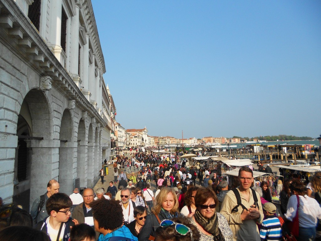 The promenade near the ducal palace of Venice, everyday crowded by visitors, Venice, Italy