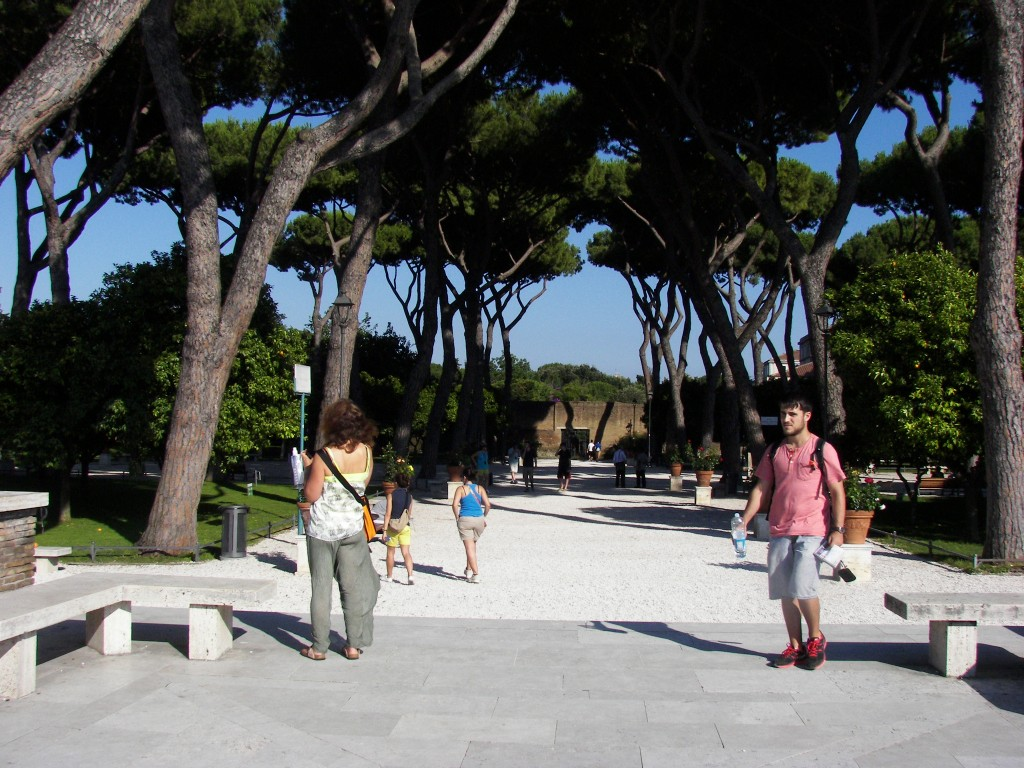 The garden of Aventino hill in Rome, one of the many green spaces of the capital, Italy