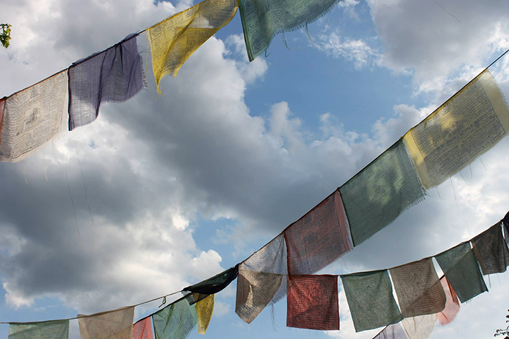 Wish flag, typical of Hindouist worship, find their place in the Italian city, Florence, Italy