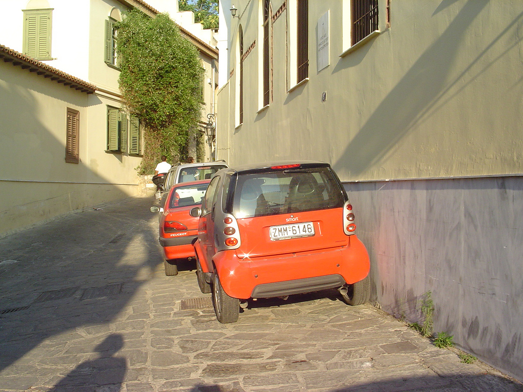 Cars on pedestrian zones, Athens, Greece
