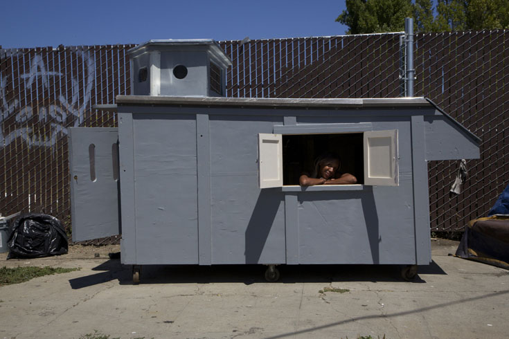 One of San Francisco's mobile homeless shelters made from trash by Gregory Kloehn, San Francisco, California
