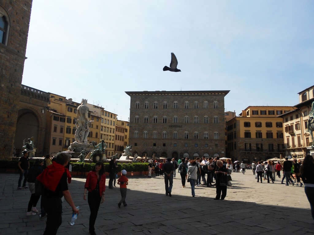 Piazza della signoria, one of the most visited squares of Florence city center, Florence, Italy