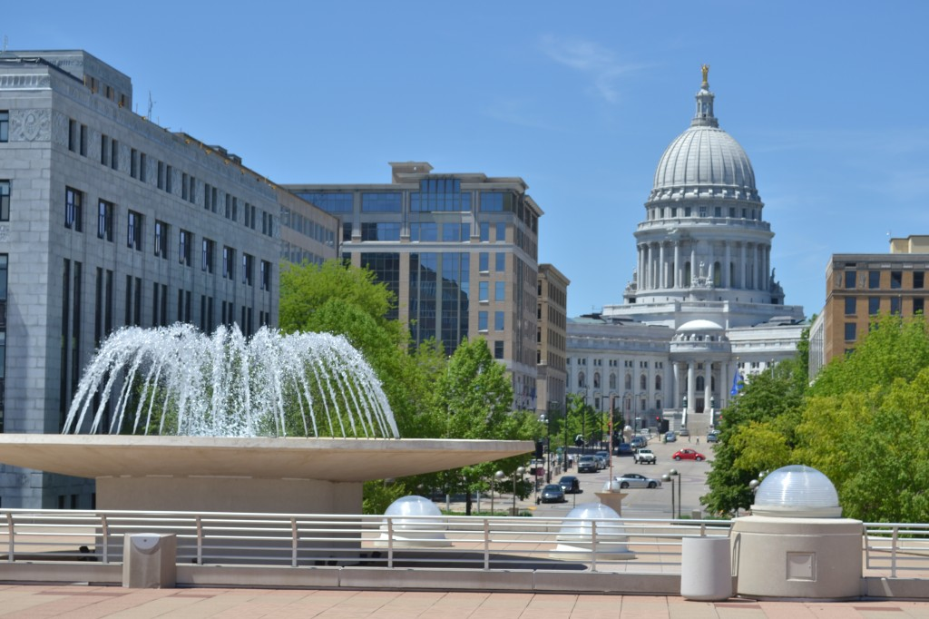 A view of the state capitol building from the Monona Terrace, Madison, Wisconsin