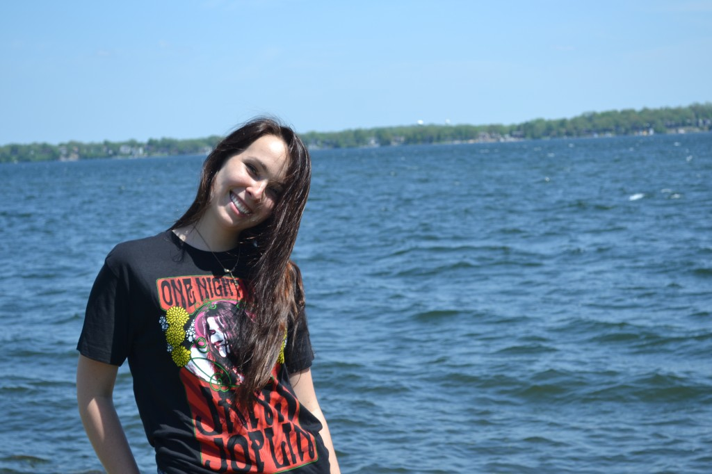 Kaylie Duffy in front of Lake Monona.