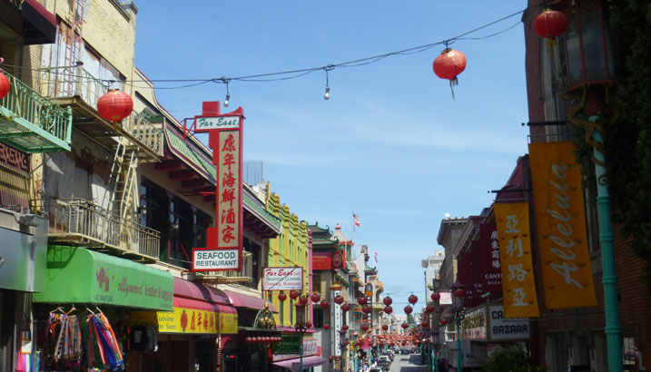 San Francisco's Chinatown, the densest part of the city, San Francisco, California