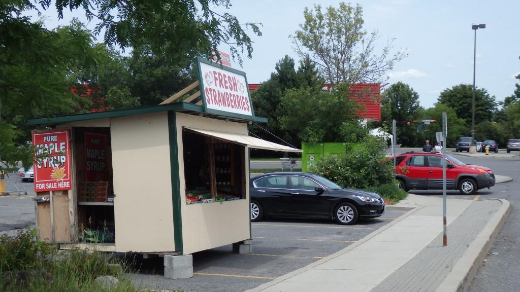Fruit kiosk in Kanata parking lot, Ottawa, Ontario, Canada