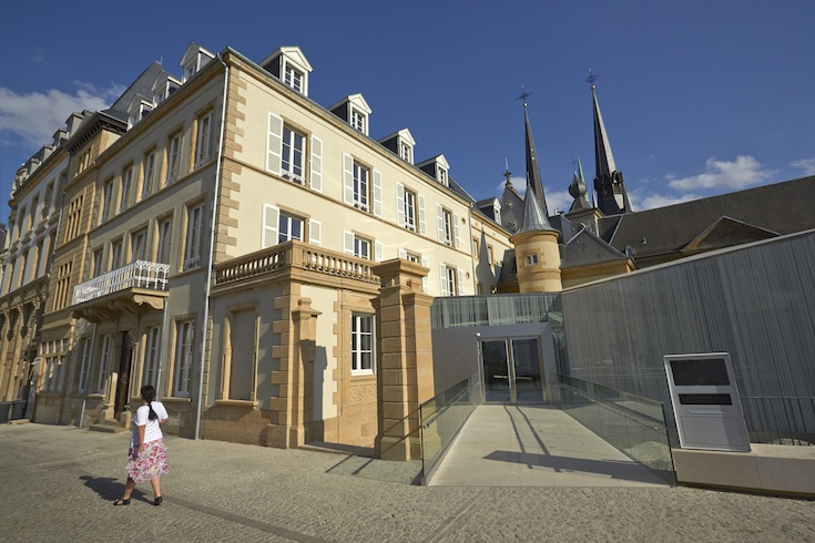 The entrance to the Bieger-Center in Luxembourg City, Luxembourg. Credit: Christof Weber