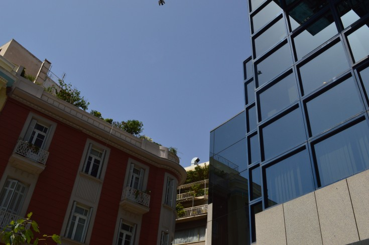 glass buildings, Athens, Greece