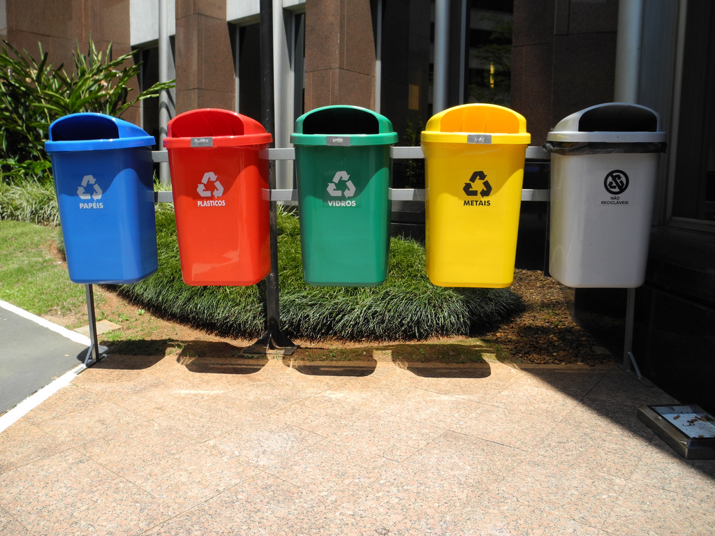 Recycling receptacles in Brazil.