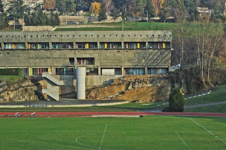 The Stadium designed by Le Corbusier in Firminy-Vert, France