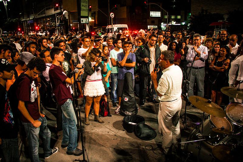 Protest to preserve the Fine Arts Cinema in Sao Paulo, Brazil.