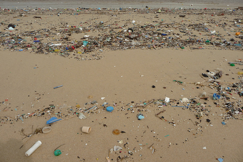An example of a polluted beach