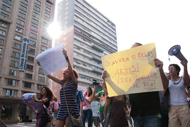 A protest to preserve the Fine Arts Cinema in Sao Paulo, Brazil.