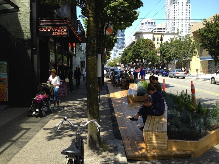 A parklet in Vancouver, Canada