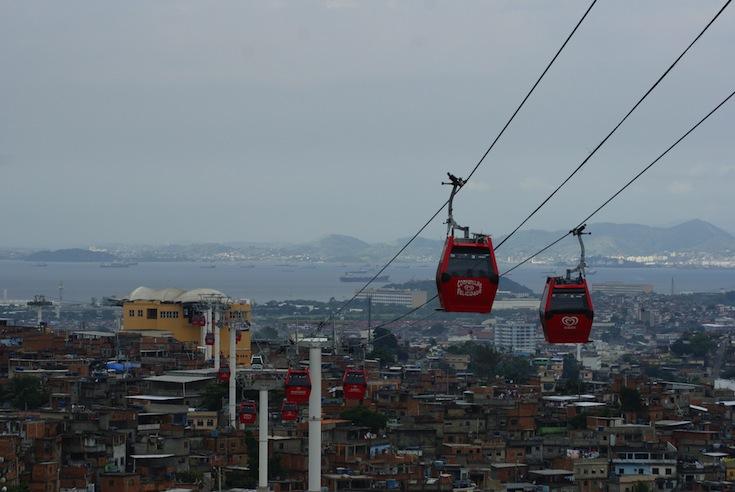 The cable-car system of Complexo do Alemão in Rio de Janeiro, Brazil